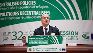 The Chair of the Committee of Ministers of the Council of Europe addresses the members of the Congress